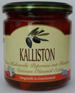 KALLISTON - Rote Kabaniki Peperoni gefüllt mit Feta in extra nativem Olivenöl
